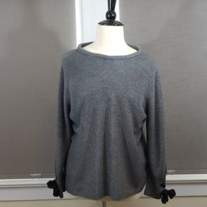 Nic+Zoe 2X silver gray sweater with bow detail GUC